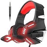 VersionTech PS4Gaming Headset Noise Cancelling Xbox One Kopfhörer über Ohr mit LED-Lichteffekt für Gamer