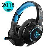 DIZA100 Gaming Headset für PS4 Xbox One PC, Gaming Kopfhörer mit Noise Cancelling Mikrofon Buntes LED-Licht Bass Surround für Nintendo Switch Laptop Smartphones (Black+Blue)