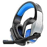 Diza100 V4 Gaming Kopfhörer für PS4 PC Xbox One Headset,Metallgehäuse, LED Light, Blau