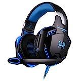 BlueBeach G2000 3,5 mm Stereo Gaming Kopfhörer Stirnband LED Beleuchtung Über-Ohr mit mikrofon für PC Computerspiel mit Geräuschunterdrückung und Lautstärkeregelung
