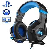 Mpow Gaming Kopfhörer für PC PS4 Xbox One, 7 Farbe RGB-LED Licht, Surround-Sound Gaming Headset mit Mikrofon, Super Leicht Headset Over-Ear-Gaming Kopfhörer für Computer Mac Handy Nintendo Switch