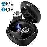 Mpow Bluetooth Kopfhörer, V5.0 Bluetooth Kopfhörer in Ear mit Portable Ladebox, 25 Stunden Spiel, Wasserdicht Fitnessbegleiter, HD-Stereo, Wireless Sport Kopfhörer für iPhone Huawei Samsung iPad usw.