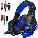 Gaming Headset Mikrofon und LED Lichter für Notebooks, Mobile, PS4& Sons, DLand 3,5mm Kabelgebunden Kopfhörer freuen-Spiel–Lautstärkeregler (Schwarz und Rot) Blau Blau