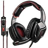 sa920 plus gaming headset mit mikrofon und stereo - stecker im ohr kopfhörer für pc/mac/ps4 (schwarz - rot)