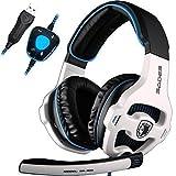 USB Gaming Headset, SADES SA903 Gaming Kopfhörer 7.1 Surround Sound Headset PC Stereo Kopfhörer mit Mikrofon (Schwarz / Weiß)