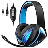 Mpow Gaming Headset, 7.1 Surround Sound Gaming Kopfhörer, 60mm Leistungsstarke Treiber Kopfhörer mit Mikrofon für PS4/Xbox One/PSP/Netendo DS/PC/Tablette (Schwarz)