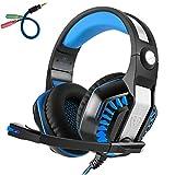 Gaming Kopfhörer PS4 PC, Beexcellent GM-2 Gaming Headset Overear mit mikrofon Led, Lautstärkeregelung Stereo Bass Noise Cancelling, für Xbox One, Laptop, Tablet, die meisten Smartphones (blau)