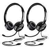 Mpow 【2 Stücke】 071 USB Headset/3,5-mm-Computer-Headset mit Mikrofon Geräuschunterdrückung,Leichtes PC-Headset Kabelgebundene Kopfhörer, Business Headset für Skype, Telefon, Call Center,TV usw.
