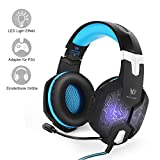 PC&PS4 Gaming Headset, marsboy Gaming Kopfhörer mit Mikrofon LED Effekt für PS4 PC Film Gaming Spielen Chat Musik Blau.