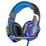 VersionTECH. G2000 Gaming-Headset, Surround-Stereo-Gaming-Kopfhörer mit Mikrofon mit Geräuschunterdrückung, LED-Leuchten und weichen Memory-Ohrenschützern, funktioniert mit Xbox One, PS4, Nintendo Switch, PC und Mac Computerspielen 21*21*12centimeters blau