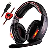 Gaming Kopfhörer,SA902 7.1 Surround Sound Stereo Stirnband Kopfhörer mit Mikrophon, Professionelle PC USB Gaming Headsets für Gamers (schwarz/rot)