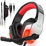 DIZA100 V4 Gaming-Headset für Xbox One, PC, PS4, Over-Ear-Kopfhörer mit Geräuschunterdrückung, weiches Ohrpolster, 3,5 mm Klinkenkabel für Mac Laptop Tablet Smartphone (blau) rot