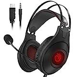 Gaming Headset PS4 Kopfhörer, VersionTECH. für Xbox One Nintendo Switch (Audio) PC Over-Ear-Kopfhörer mit Ultra-Soft-Ohrenschützer LED-Beleuchtung Noise Cancelling-Mikrofon (Schwarz)