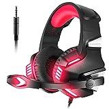 VersionTECH. Gaming Headset Kopförer für PS4 Neue Xbox one Over-Ear-Headset mit LED-Licht Spiel Bass Stereo Noise Isolation Mikrofon für Laptop PC Tablet iMac PSP und Smart Phone iPhone, Rot