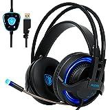 SADES R2 Gaming Headset Digital Surround-Sound USB PC Stereo Gaming Kopfhörer mit hoher Empfindlichkeit Mikrofon Lautstärkeregelung LED-Licht (schwarz)