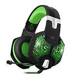 bengoo Gaming Headset PC Headset mit Mikrofon 3,5 mm Stereo Over-Ear-Kopfhörer für PC Laptop Computer (schwarz und grün) …