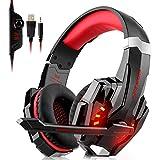 Stereo-Gaming-Headset von DIZA100 für PS4, PC, Xbox One Controller, Over-Ear-Bass-Gaming-Kopfhörer, mit Mikrofon, LED-Licht, für Bass-Surround-Computer, Notebook, Mac, Nintendo Switch Games rot