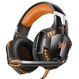 VersionTech Aktualisierte Version je G20003,5mm pro Stereo Gaming Headset Kopfhörer Kopfbügel mit Mikrofon, LED-Licht, tiefen Bass, Geräuschisolierung Funktionen für PS4Laptop und Mobile Phones ¡ orange Orange