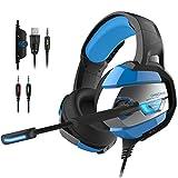 PUNICOK PS4 Headset Gaming Kopfhörer mit Rauschunterdrückung Mikrofon 3.5mm on Ear Surround Sound Ohrhörer für PS4 Xbox One PC Laptop Tablet Mobile Blau
