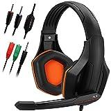 Gaming Headset, DLAND 3.5mm verdrahteten Bass Stereo Noise Isolation Gaming-Kopfhörer mit Mikrofon für Laptop-Computer, Handy, PS4 und so on- Volume Control (schwarz und orange)