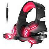 VersionTech Gaming-Kopfhörer, PS4, Stereo, Headset für Xbox One, mit Mikrofon, Rauschunterdrückung, Raumklang, LED-Licht, Lautstärkeregler, für Laptop, PC, Tablet, PSP, Handy rot