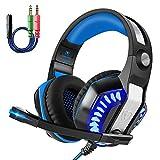 Beexcellent gm-2Gaming Headset mit Mikrofon LED Gaming Kopfhörer für für PS4/xones/PC/Laptop mit einem gratis Y Splitter