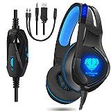 Dxnbikt Gaming Headset für Xbox One PC PS4 Mac Noise Isolation Gaming Kopfhörer mit Mikrofon (Blau)