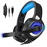 PHOINIKAS Gaming Headset für ps4, Xbox One Gaming Headset, Stereo Gaming Kopfhörer mit Mikrofon für PC, Nintendo Switch, Blau