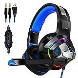 Gaming Headset für PS4 PC Xbox One, ZIUMIER Over Ear Kopfhörer mit Noise Cancelling Mikrofon und Surround Sound, RGB LED Licht Weiche Komfort Ohrenschützer für Laptop, Nintendo