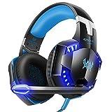 VersionTech G2000Stereo Gaming Headset für Xbox One PS4PC, Surround Sound Over-Ear-Kopfhörer mit Noise Cancelling Mikrofon, LED-Leuchten, Lautstärkeregler für Laptop, Mac, iPad, Computer blau blau