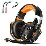Tsing EACH G2000 Professionelle 3,5mm PC LED-Licht Gaming Bass Stereo Noise Cancelling Über-Ohr Kopfhörer-Mikrofon mit HiFi-Treiber für Laptop-Computer - Lautstärkeregelung (Schwarz-Orange)