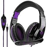 Wired Stereo Gaming Headset, Anivia A9 3,5 mm Kopfhörer mit Mikrofon für PS4 / NewXboxOne / PC / Mac / Smartphones / Tablets / Laptop-Schwarz lila