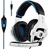 [2018 Xbox One Gaming Headset] SADES SA810 Over-Ear-Kopfhörer Stereo Gaming Headset mit Mikrofon Bass Lautstärkeregler für Xbox One / PS4 / PC/Laptop (Weiß)