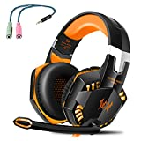 G2000 Gaming Headset, Tsing Professionelle Gaming Kopfhörer mit Mikrofon, 3.5mm On Ear Surround Sound Ohrhörer mit Bass-Stereo Lautstärkeregelung für PC Laptop Tablet Mobile Phones Orange