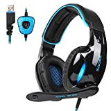SADES 2017 Neue Version SA902 Blau 7.1 Kanal Virtuelles USB Surround Stereo Verkabelt PC Gaming Headset Over Ear Kopfhörer Gaming mit Mikrofon Revolution Lautstärkeregler Rauschen Abbrechen LED Licht (Schwarz / Blau)