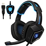 [Neuer USB Computer Kopfhörer mit Mikrofon] Spirit Wolf Over Ear 7.1 Surround Sound PC Gaming Headset mit Noise Cancelling / Atmungslicht in Schwarz Blau