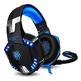 Gaming Kopfhörer PC KINGTOP PS4 Headset mit Mikrofon LED Bass Lautstärkeregelung Stereo Gamer Headset für Play Station 4, Xbox One S, Nintendo Switch,Handys und viele andere