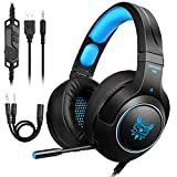 Tenswall PS4 Headset, Over Ear PS4 Kopfhörer mit 7 LED Licht für PS4, Xbox One, PC, Tablet, Mobile