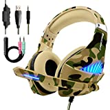 Gaming Headset für PS4 Xbox One, Beexcellent Deep Bass Gaming Kopfhörer mit Mikrofon Stereo Sound Noise Isolation und Lautstärkeregler Over-Ear Headset für PC Laptop Mac Smartphone