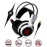 KLIM Puma - Micro Gamer Headset - 7.1 Surround Sound - Hochqualitativer Klang - Integrierte Vibrationen - Perfekt kopfhörer für PC Game und PS4 Gaming Weiß [ Neue 2018 Version ]