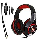 UZZHANG Gaming-Kopfhörer mit Mikrofon und LED-Licht für Laptop, Computer, Handy, PS4 und Sohn, DLAND 3,5 mm verkabelte Geräuschisolierung Gaming Headset – Lautstärkeregler. (Farbe: Rot)