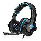 SADES SA-901 Gaming Headset USB Headset 7.1CH Surround Sound Stereo PC Gaming Kopfhörer mit Mikrofon Blau+Schwarz Verpackung MEHRWEG