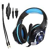 Gaming-Kopfhörer mit Mikrofon und LED-Licht für Laptop, Handy, PS4 und Sohn, DLAND 3,5-mm-Gaming-Headset mit Kabel zur Geräuschisolierung - Lautstärkeregelung.(Farbe blau)
