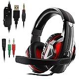 Etpark Gaming-Headsets für PS4, Xbox One mit LED und Gaming-Mikrofon (3,5 mm) Schwarz