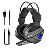 Gaming Headset New Bee 3D Surround Sound Spielkopfhörer mit großem 50mm Treiber, kräftigem Bass, empfindlichem Mikrofon, LED Licht, USB Anschluss, Over Ear Kopfhörer für PS4, Xbox One, PC, PS3