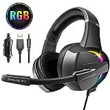 Beexcellent Gaming Headset für PS4, 7 Farbe RGB-LED Licht, Surround Mid and Bass Sound Professional Kopfhörer mit Mikrofon, für Xbox One PC Laptop Mac Tablet