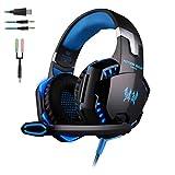 Gaming Headset für PS4 EACH G2000 Over Ear Kopfhörer PC mit Mikrofon Surround Sound Leds Noise Cancelling für Xbox One/PC/Iphone/Laptop/Mac/Handy Headphone mit Mic Heavy Bass LED Light for PC Gamer