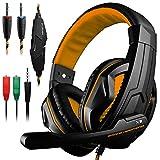DLAND Gaming Headset, 3,5-mm-Kabel-Bass-Stereo-Geräuschisolation Gaming-Kopfhörer mit Mikrofon für Laptop-Computer, Mobiltelefon, PS4 und so weiter - Lautstärkeregler (Schwarz und Orange)