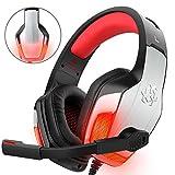 DIZA100 Gaming Headset für PS4, Xbox One, PC Controller V4 Gaming Kopfhörer mit Aluminium Ohrmuschelgehäusen