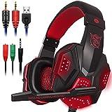 Gaming Headset mit Mic und LED Licht für Laptop Computer, Handy, PS4 Xbox One, DLAND 3.5mm Wired Noise Isolation Gaming Kopfhörer - Lautstärkeregler (Schwarz und Rot)